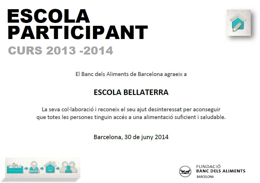 Diploma Banc d'Aliments - Escoleta