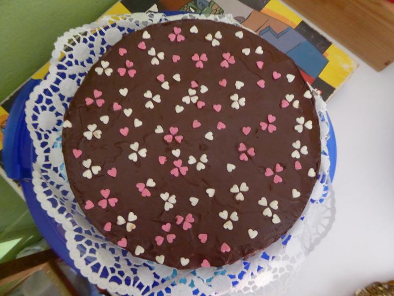 Pastís de xocolata amb cors