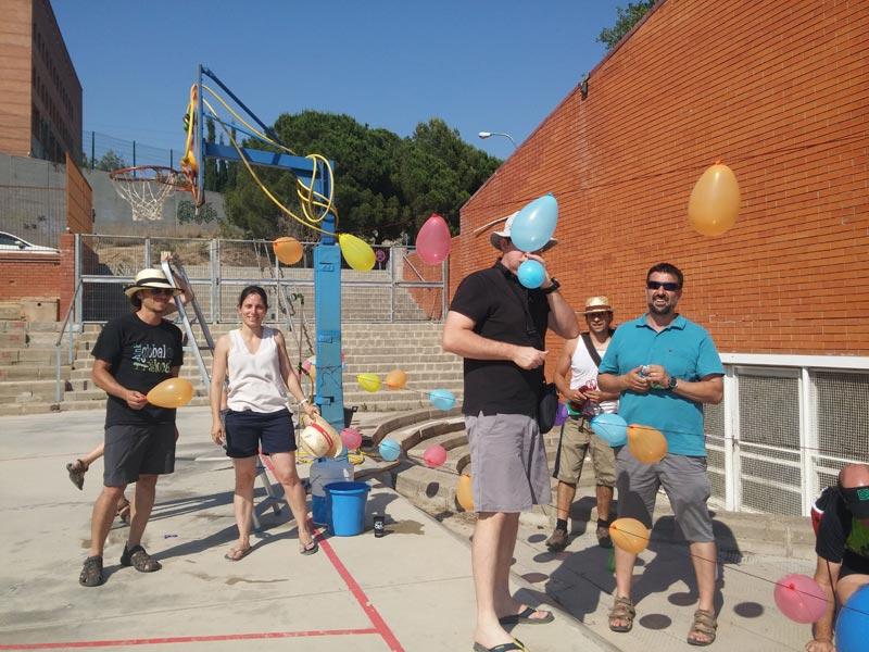 Preparatius dels jocs d'aigua